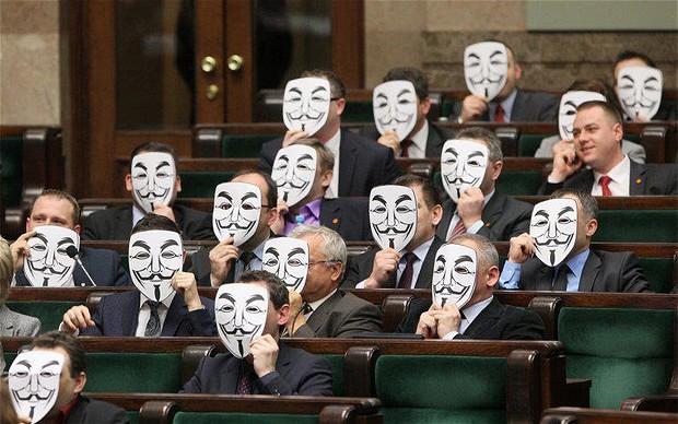 ACTA protest in Polish Parliament