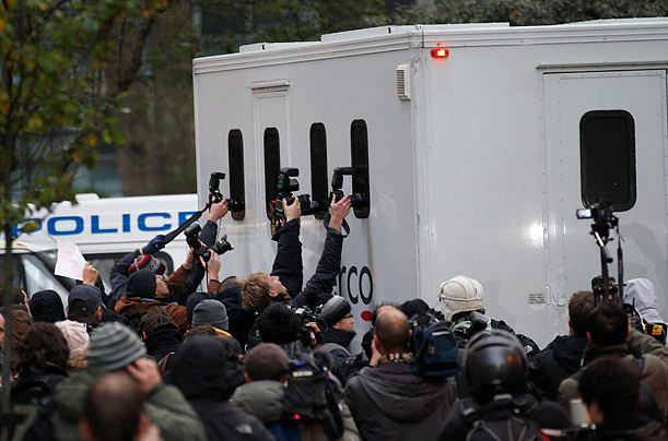 a prison van believed to be carrying WikiLeaks founder Julian Assange