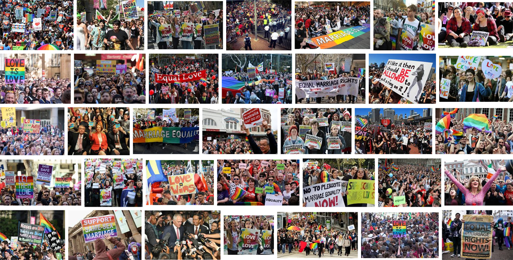 Google montage of same sex marriage protests