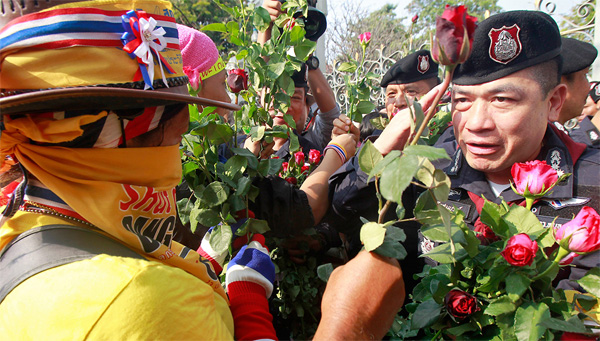 A protester gives red roses to a Thai policeman at the Government house in BangkokReuters