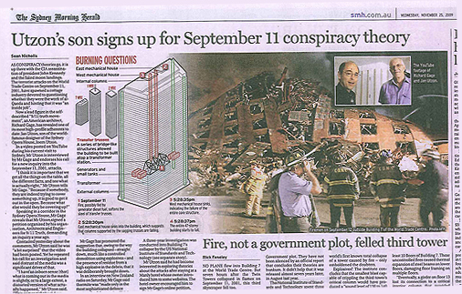 Sydney Morning Herald 25 November 2009 - articles about Jan Utzon, Richard Gage and the 9/11 truth movement